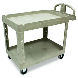 Rubbermaid Commercial Fg452088beig Heavy duty Utility Cart 2 shelf beige New