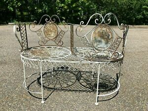 Antique French Wrought Iron French Garden Tete A Tete Kissing Bench