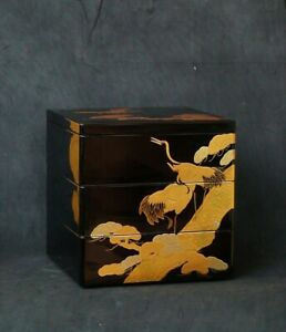 Japanese Wooden Lacquer Ware Bento Lunch Box Jubako 3 Tier Makie Vtg