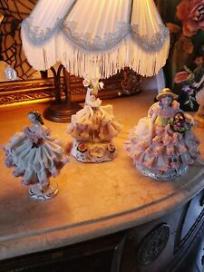 Dresden Lace Figurines And One Lamp