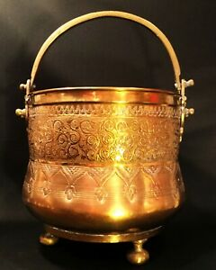 Chinese Brass Cauldron Footed Large Pot With Handle Engraved Asian Motif
