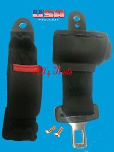 1 Universal Car Seat Belt Lap 2 Point Safety Travel Adjustable Retractable Auto