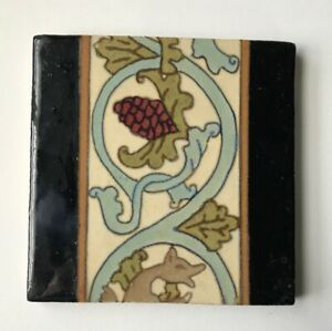Antique Flint Faience Tile 6 X 6 Pine Cones And Leaves