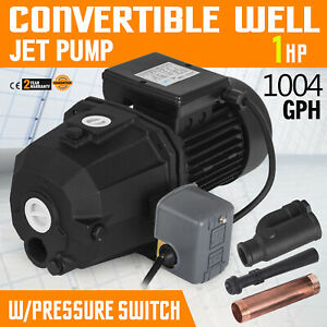 1 Hp Shallow Or Deep Well Jet Pump W Pressure Switch Lawn 164 Ft 3 8 M3 h