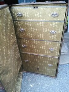 Vintage Antique Wheary Wardrobe Steamer Trunk W Drawers Train Car Baggage