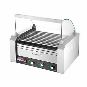 Commercial Electric Hot Dog Roller Grill Rotisserie Machine W Bun Warmer