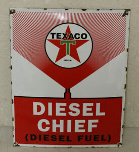 Texaco Diesel Chief Porcelain Enamel Signs Vintage Style Car Dealer Advertising