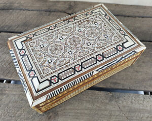 Vintage Wooden Trinket Jewellery Box Mother Of Pearl Inlay