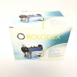 Rolodex Card File Business Office Address Organization Blue Metal