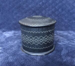 Antique French Napoleon Iii Silver Inlay Black Paper Mache Tea Caddy Canister