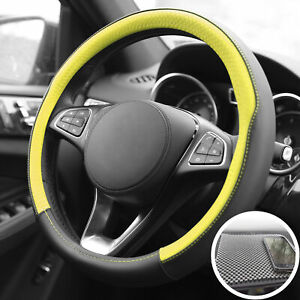 Universal Steering Wheel Cover For Car Suv Van Yellow With Gray Dash Mat Pad