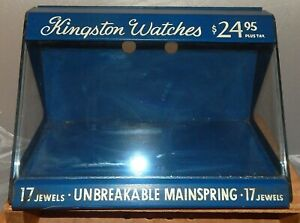 Kingston Wristwatch Countertop Display Wood Glass Case Fleischman Nyc Vintage