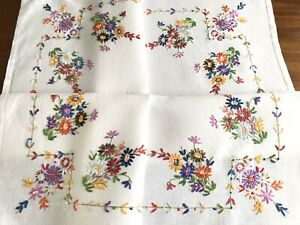 Vintage Hand Embroidered White Linen Tablecloth 32x33 Inches