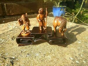 3 Tier Carved Iron Wood Stand For Netsuke Snuff Boxes Small Collectables 2
