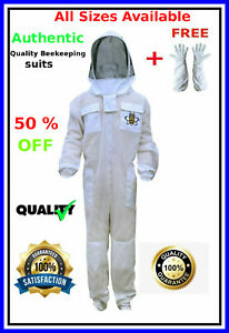 Authentic Ventilated Beekeeping Suit 3 Layer Mesh Fencing Veil Free Gloves