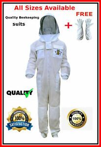 Quality Ventilated Beekeeping Suit 3 Layer Mesh Fencing Veil Gloves M