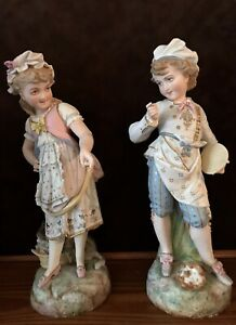 Antique French Pair Of Bisque Figurines Of Kids
