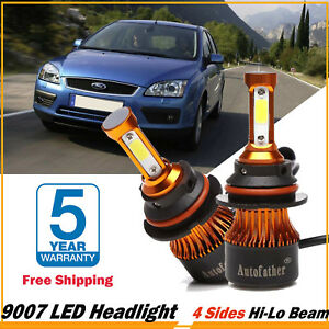 For Ford Focus 2005 07 Pair 9007 1300w Cree 4 Side Led Headlight Kit Hi Lo Bulbs