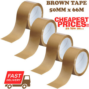 Strong Brown Parcel Packing Packaging Tape Sellotape Carton Sealing 50mm X 66m