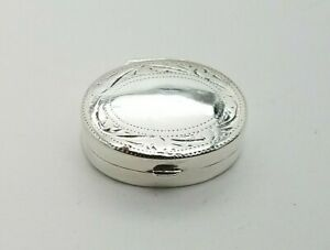 Sterling Silver 925 Solid Hinged Oval Pill Or Snuff Box