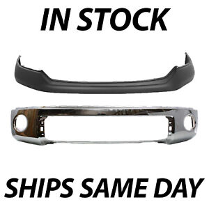 New Chrome Steel Front Bumper Cover Face Bar Kit For 2007 2013 Toyota Tundra