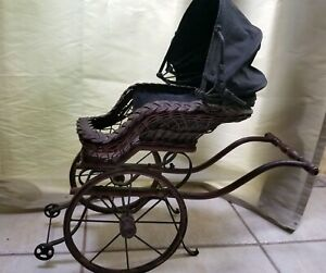 Vintage Antique Brown Wicker Baby Doll Buggy Stroller Carriage 2 Wheel