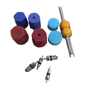 R134a Auto Air Conditioning Valve Core A C System Caps Kit W Remover Tool