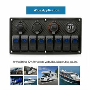 8 Gang Waterproof Car Marine Boat Circuit Blue Led Rocker Switch Panel Breaker