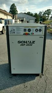 Used 20 Hp Schulz Rotary Screw Air Compressor Enclosed W Computer 230 460 Volt