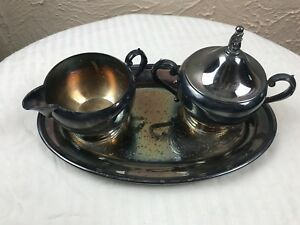 Oneida 3 Piece Dessert Set Cream And Sugar Set With Tray Vintage Silver Plate