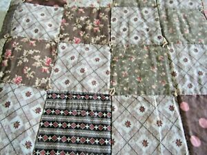 Antique Quilt Patchwork Calico Floral Chintz Chocolate Brown Pink Polka Dot