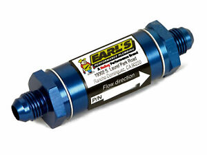 Earls Oil Filter In line Stainless Screen 8an Male Inlet 8an Male Outlet Al Blue