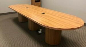12 w Oval Conference Table By Lacasse Office Furniture In Lt Cherry Laminate