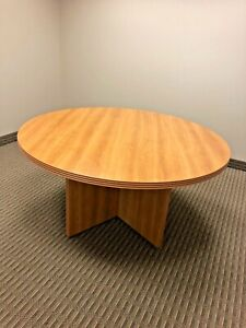 Round Conference Table By Lacasse Office Furniture In Lt Cherry Laminate 60 d