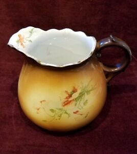 Antique Warwick China Ioga Large Pitcher Brown Yellow Flowers