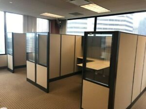 Lot Of 3 Manager s Cubicles partitions W Glass By Allsteel Office Furniture