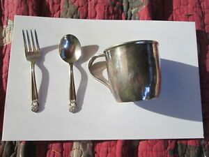 Vintage Silver Heritage Baby Cup Fork Spoon Brush By 1847 Rogers Bros