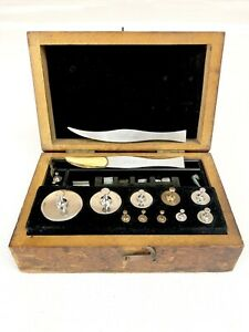 Antique Vintage Tools Fisher U S A Scale Weight Set With Wood Case