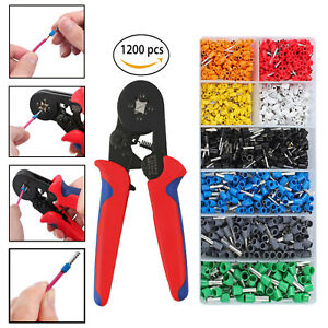 1200pcs Crimper Plier Wire Terminal Kit ferrule Crimper Plier Wire Stripper Tool