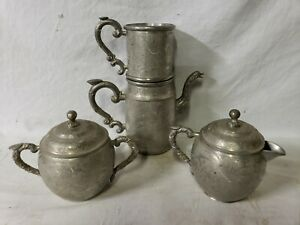 Antique Chinese Pewter Tea Coffee Set Engraved Kut Hing Qing Dynasty