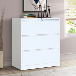 Home Office 3 Drawers Heavy duty Lateral File Cabinet Storage Organizer White