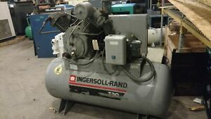 Used 15 Hp Ingersoll Rand T 30 Piston Two Stage 120 Gallon 230 460 Volt