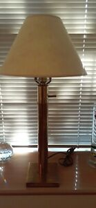 Stiffel Vtg Mid Century Modern Hollywood Regency Brass Cylinder Table Desk Lamp