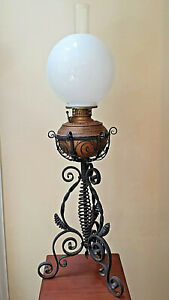 Antique Wrought Iron Center Draft Banquet Piano Oil Lamp