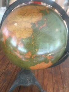 Antique 1909 W A K Johnston 12 Inch Terrestrial Globe W Cast Iron Base