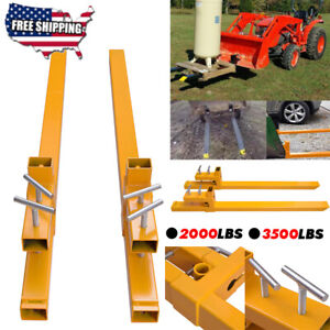 2000 3500lbs Capacity Clamp On Pallet Forks Loader Bucket Skid Steer Tractor Us