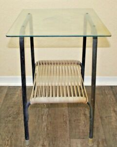 Mid Century Modern Vintage Ames Aire Side Table Steel Frame W Vinyl Cording