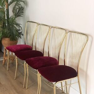 Mid Century Modern Gold Milo Baughman Cantilever Style Wire Dining Chairs 4