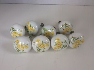 8 Vintage Ceramic Knobs Drawer Pulls Cabinet Yellow Flower About 1 1 4