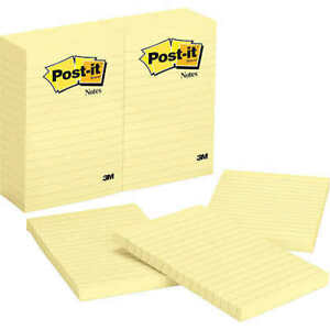 Post it Notes Canary Yellow Lined 4 X 6 12 pack Free Shipping